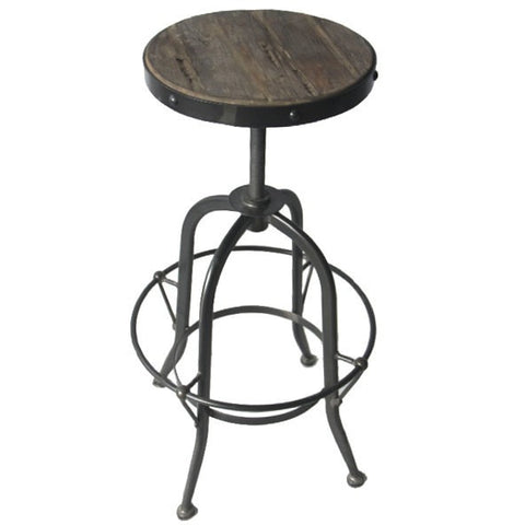 Reclaimed Elm Wood and Iron Stool