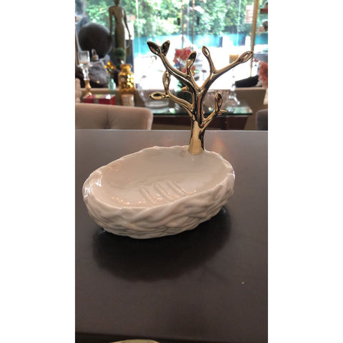 Stoneware Tree Shaped Soap Dish/Ring Holder, Gold & White