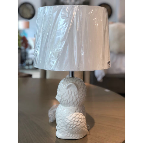 Stoneware Owl Table Lamp w/ Linen Shade
