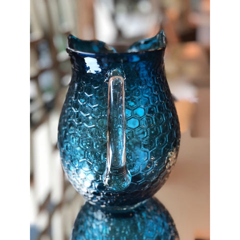 Image of Glass Owl Pitcher (Baby Blue/ Navy Blue)