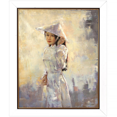 Vietnamese Girl in White Original Oil Painting Vietnam