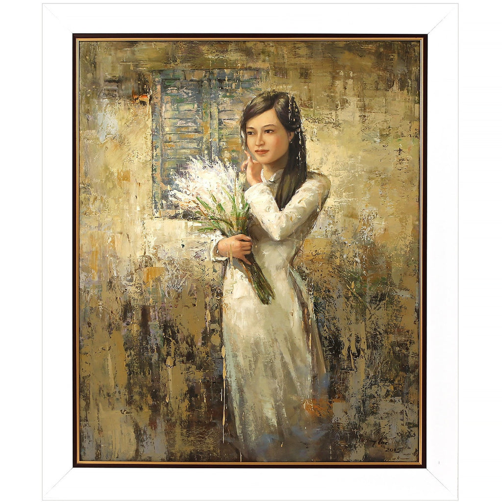 Vietnamese Girl with Flowers Original Oil Painting Vietnam