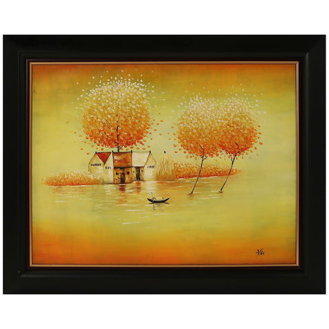 Yellow Trees Original Oil Painting Vietnam