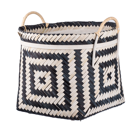 Organic Elements Geometric Black and White Basket