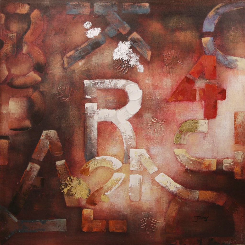 Hand Painted Gallery Wrapped Oil Painting Alphabet City  100x100cm