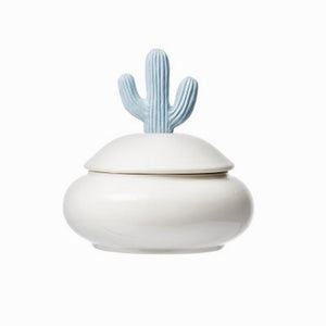 Light Blue Resin & Porcelain Jar w/ Cactus Lid