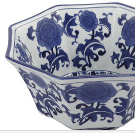 Image of Ren Blue and White Centrepiece Decorative Bowl