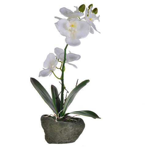 Image of Stone Potted Real Touch Orchid (Pink)