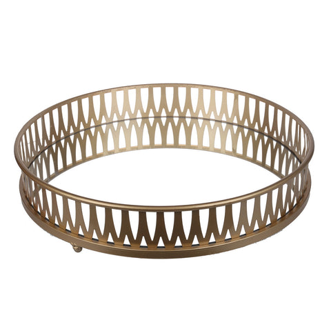 Image of URBAN VOGUE ROUND TRAY GOLD 40682