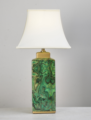 Green Hurricane Block Table Lamp (ON SALE)