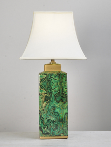 Green Hurricane Block Table Lamp