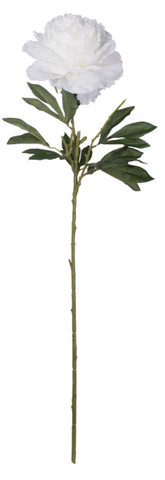 Faux Fabric Peony Stem-Cream