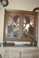 Carved Wood Dual Doors Mirror Fitted Cabinet