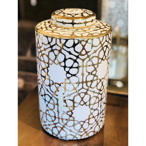 Gold & White Web Jar