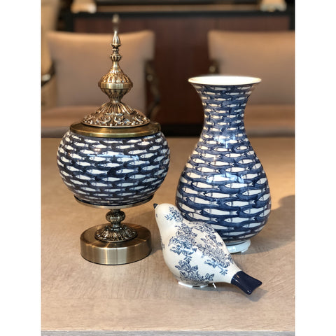 Image of Deep Blue Fish Vase