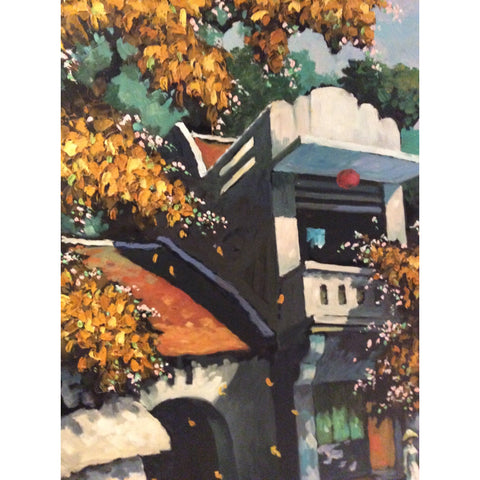 D Huy oil on canvas - tree on the hill