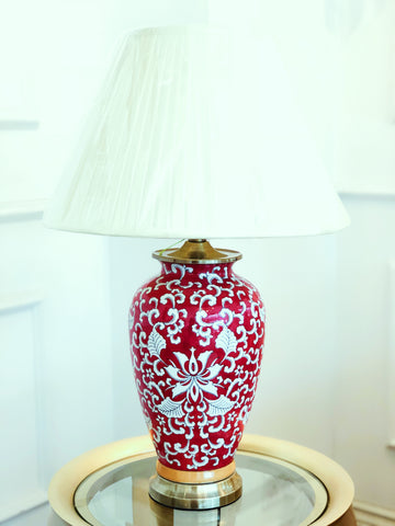 Red Oriental Oblong Table Lamp
