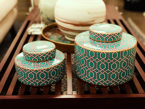 Image of Turquoise Web Rounded Jar (S/L)