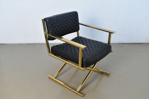 Quilted Leather Gold Frame Accent Chair