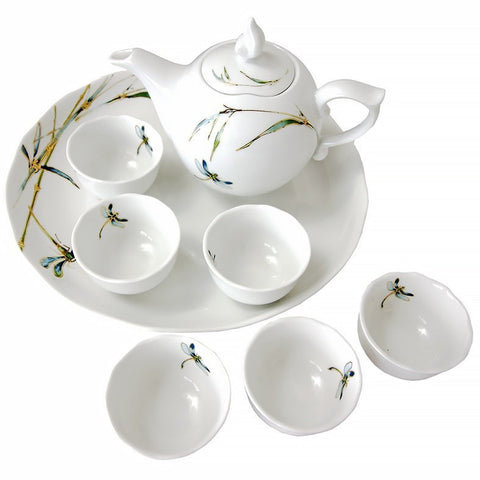 Minh Long 8 Piece Porcelain Tea Set - Bamboo Dragonfly Pattern