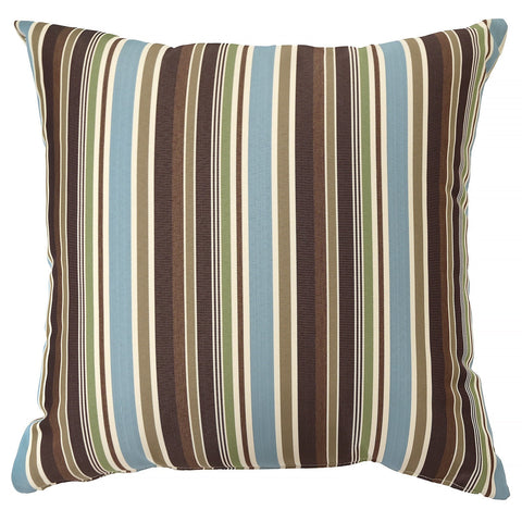 Outdoor Pillow 60x60 Brown Turquoise Green Stripe