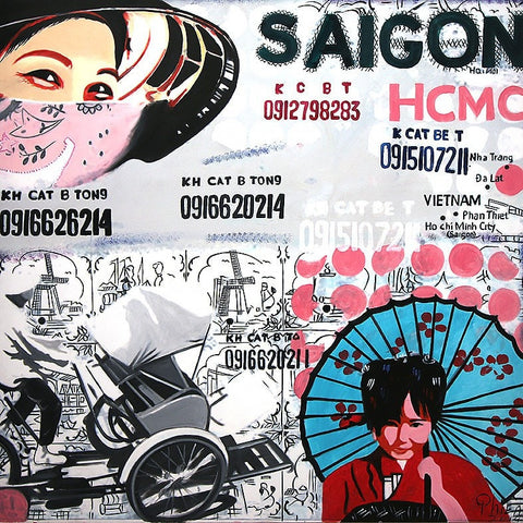 Saigon Pop Art Oil Paintings 80x80 UNFRAMED