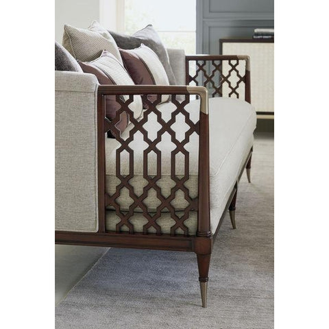 Lattice Entertain You Sofa Antique Brass Finish By Caracole®