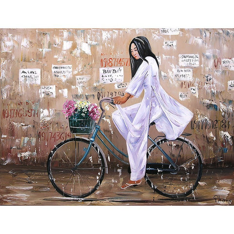 Vietnam Bicycle in the Rain Oil Painting 60x80 UNFRAMED