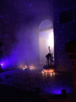Add fog to your Spright Laser decorations for Halloween.