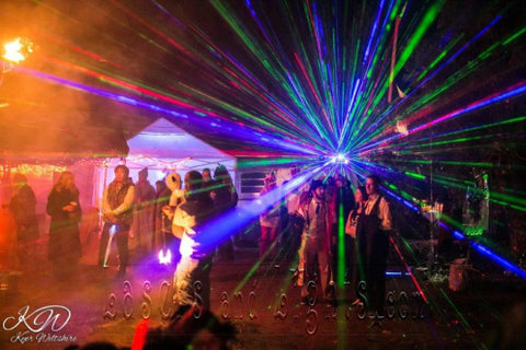 Outdoor laser light projector photo gallery lasers and lights blog add a fog machine to your indoor or outdoor laser display to make the laser beams become three dimensional for the ultimate magical environment aloadofball Gallery