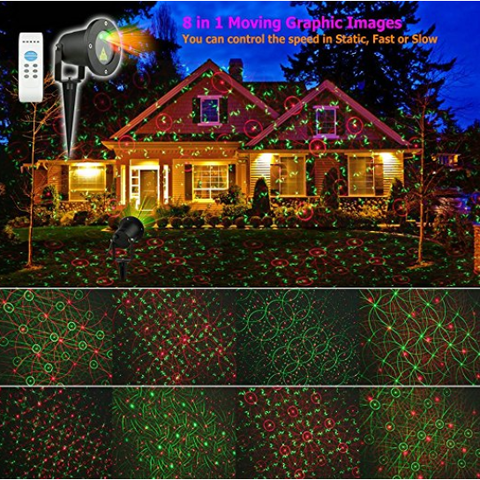 Red and Green laser garden light projector moving pattern illustration