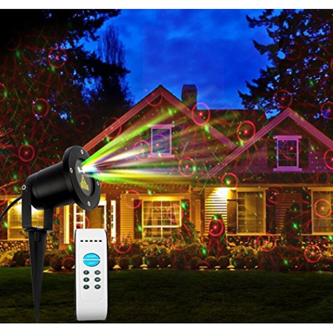 Red and Green fire fly garden light projector on home with remote
