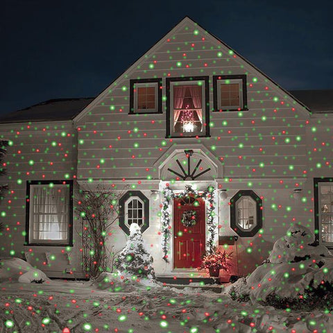 Red and Green Christmas Laser On House