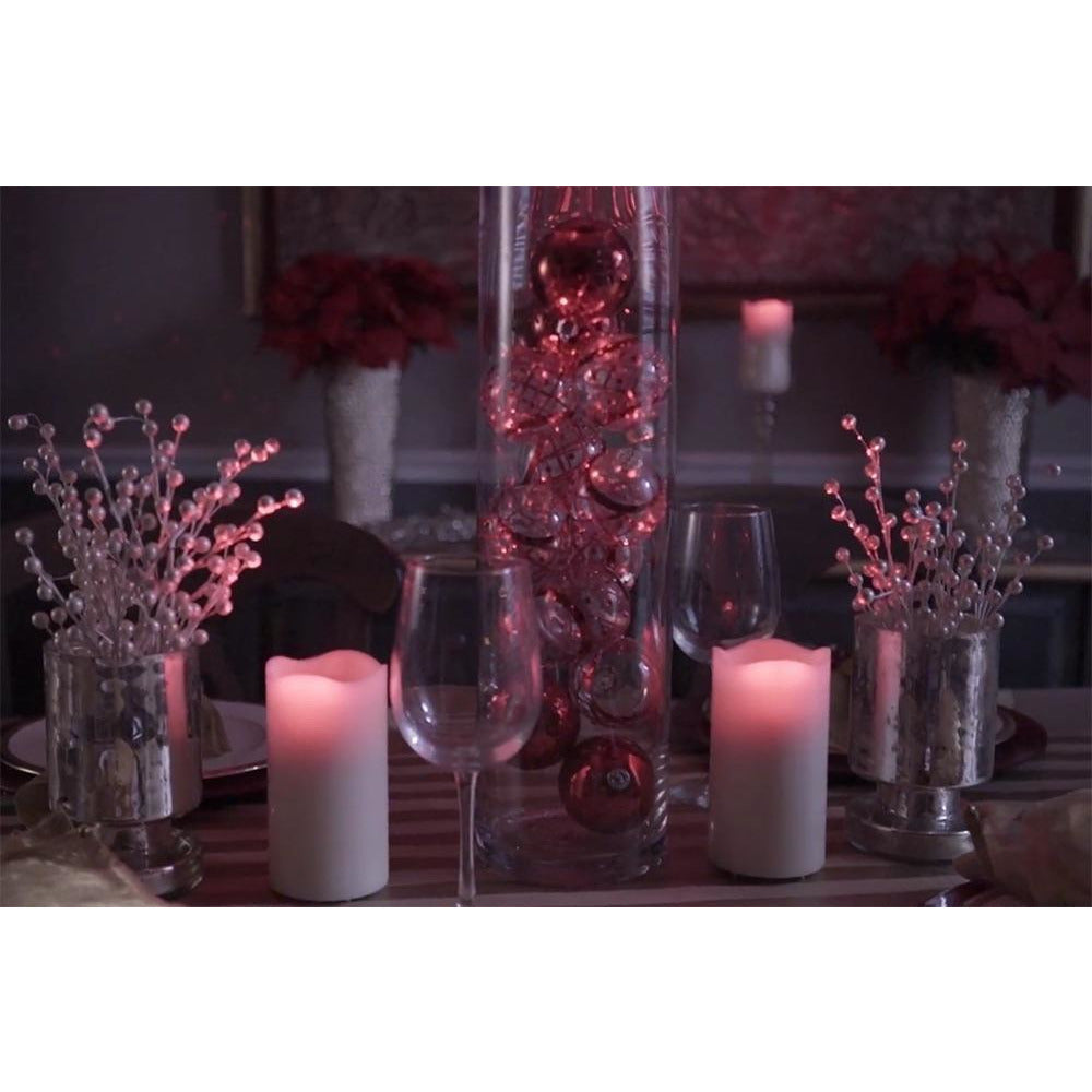 Night Stars Red Laser & Flickering LED Wax Candle (Battery-Operated)
