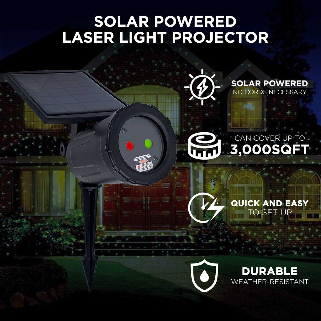 Night Stars Solar Powered Laser Light Projector Red & Green Laser