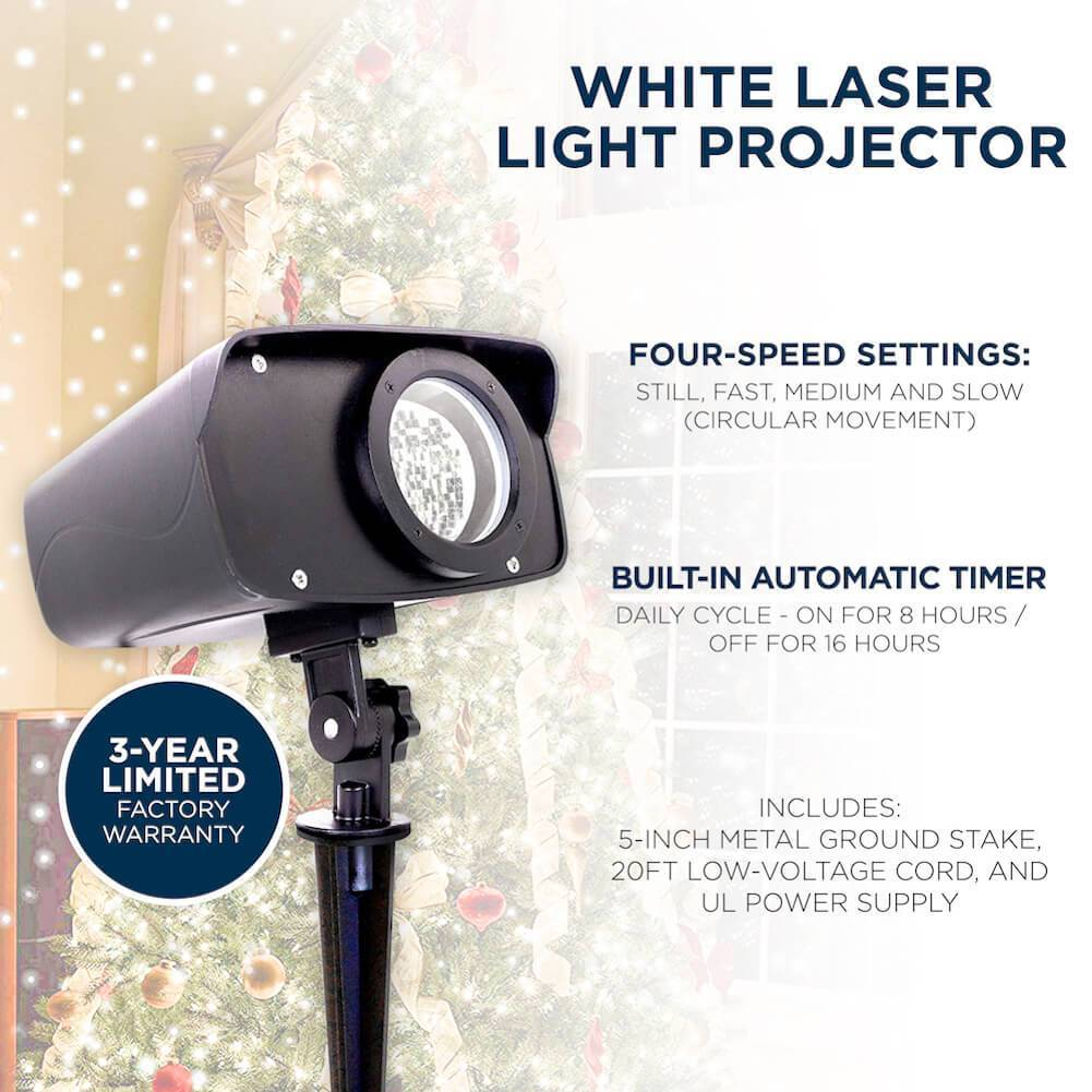 Night Stars White Laser Light Projector - Certified Open Box