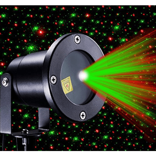 Firefly laser light projector with red and green laser beams