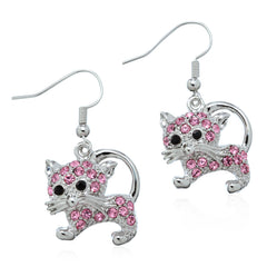Pink Kitty Earrings