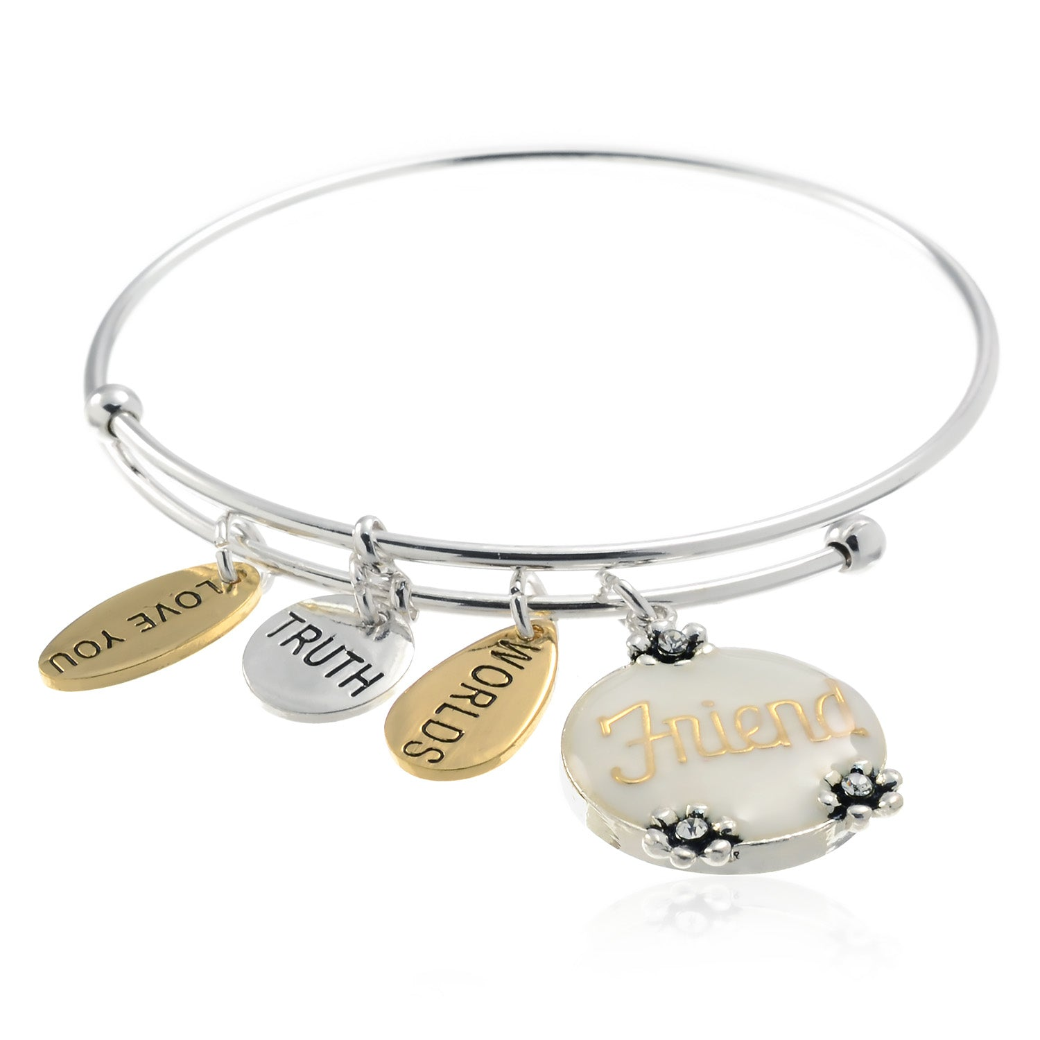 PammyJ-Expandable-Wire-FRIEND-You-Are-Loved-Charm-Bangle-Bracelet ...