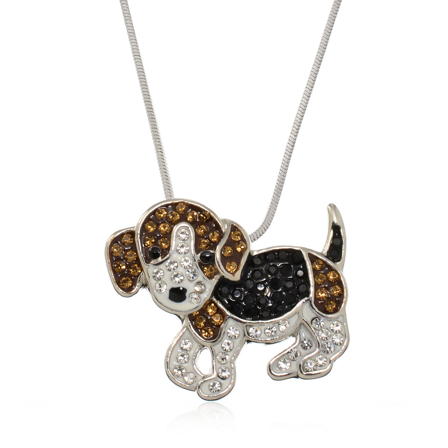 Pammyj brown and black crystal puppy dog pendant charm necklace pammyj brown and black crystal puppy dog pendant charm necklace 175 audiocablefo