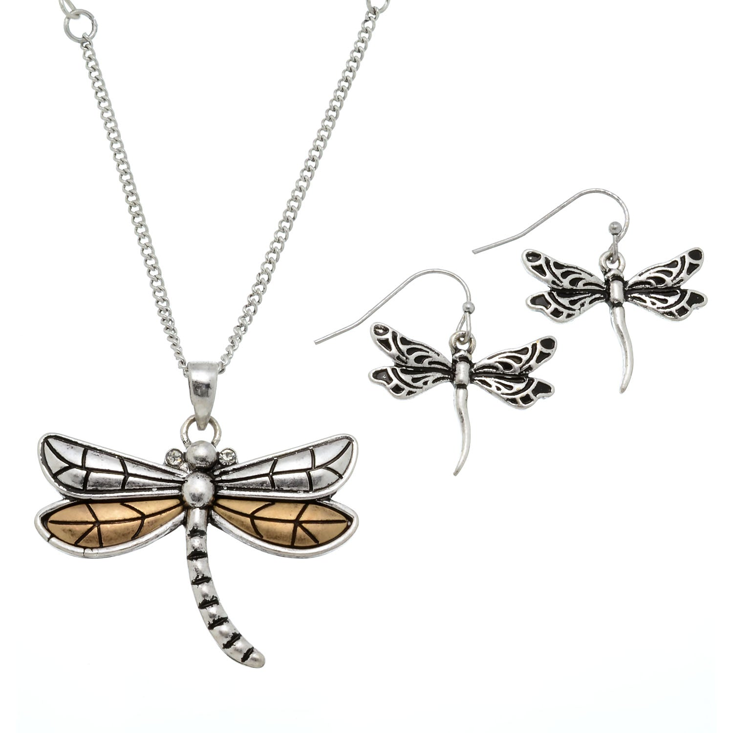 necklace tiny dragonfly gold yellow teeny
