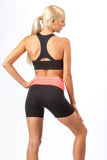 2 Piece, Foldover Workout Set - Black/Coral