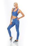 2 Piece, Capri Workout Set - Blue/White
