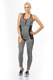 2 Piece, Capri Workout Set - Grey/Black Trim