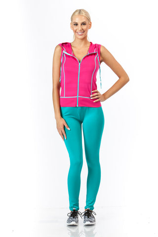 2 Piece, Capri Workout Hoodie Set - Pink/Aqua