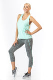 2 Piece, Capri Workout Set - Aqua/Grey