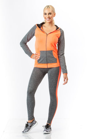 2 Piece, Capri Workout Hoodie Set - Orange/Grey