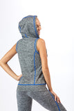 2 Piece, Capri Workout Hoodie Set - Grey/Blue Trim