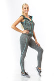 2 Piece, Capri Workout Hoodie Set - Grey/Aqua Trim