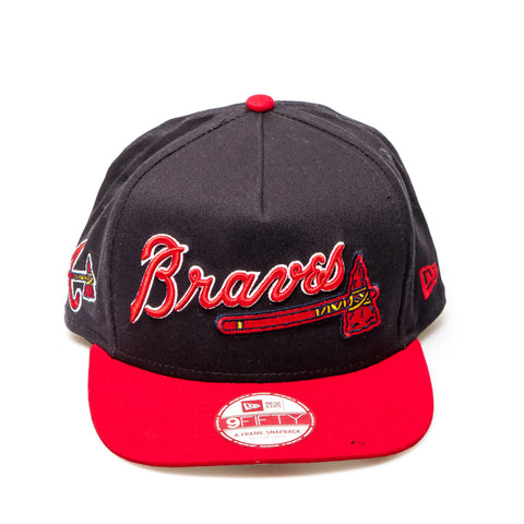 Atlanta Braves New Era XL Script Snapback Baseball Cap - Navy/Red